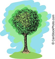 Colorful vector sketch of a tree
