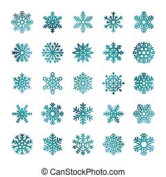 Colorful vector snowflakes isolated on white background