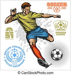 Colorful Vector Soccer Player and football logos