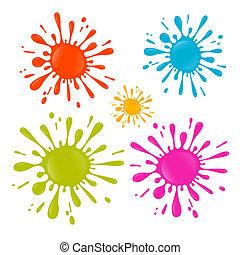 Colorful Vector Splash - Stain - Blot Illustration Set