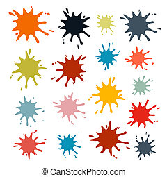 Colorful Vector Splashes Set Isolated on White Background