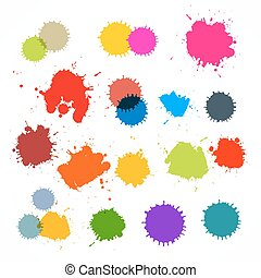 Colorful Vector Stains, Blots, Splashes Set