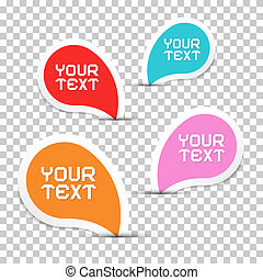 Colorful Vector Stickers Set on Transparent Background
