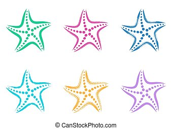 Colorful vector stylized starfish icons - Colorful vector...