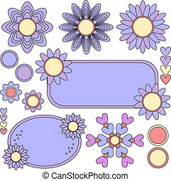Colorful vector tags, flowers
