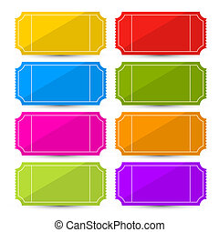 Colorful Vector Ticket Set Illustration Isolated on White...