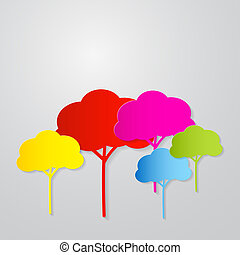 Colorful Vector Trees Illustration Cut From Paper on Grey Background