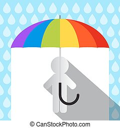 Colorful Vector Umbrella in Rain with Paper Man