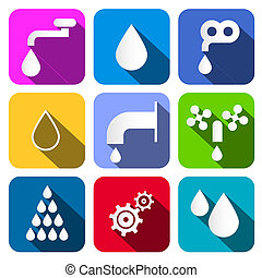 Colorful Vector Water Symbols - Icons Set