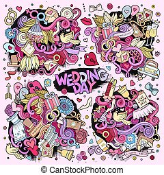Colorful vector wedding Doodle cartoon set of objects