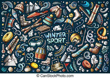 Colorful vector Winter sports objects and symbols