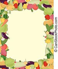 Colorful vegetable frame, healthy food concept. Vector illustration