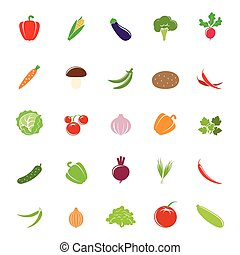 Colorful vegetable silhouettes