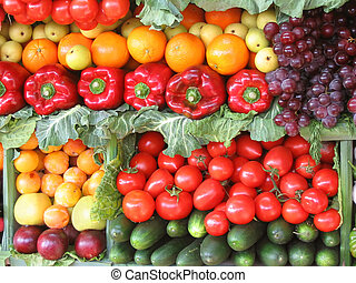 Colorful vegetables and fruits - Fresh vegetables and fruits...