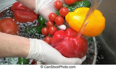 Colorful vegetables and water. Organic food close up.