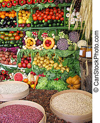 Colorful vegetables, fruits and beans