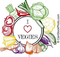 Colorful vegetables in hand drawn style