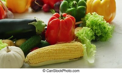 Colorful vegetables placed in pile - Bright different fresh...