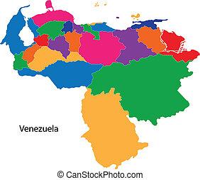 Colorful Venezuela map - Administrative divisions of...