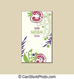 Colorful vertical card or banner with natural tomatoes and green peas. Healthy eating. Organic farm food. Creative vector design for grocery store or promo poster
