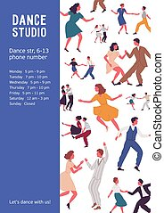 Colorful vertical poster with different couples dancing ...