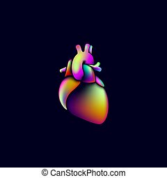 Colorful vibrant color heart shape medicine logo sign. Anatomical human heart iridescent fluid gradient neon bright holographic futuristic design. Round geometric plastic 3D render vector illustration