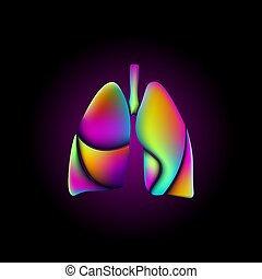 Colorful vibrant color lungs shape medicine logo sign. Anatomical human iridescent fluid gradient neon bright holographic futuristic design. Round geometric plastic 3D render vector illustration