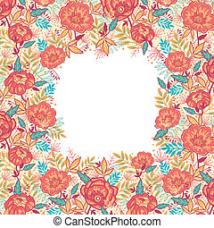 Colorful vibrant flowers frame border
