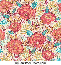 Colorful vibrant flowers seamless pattern background -...