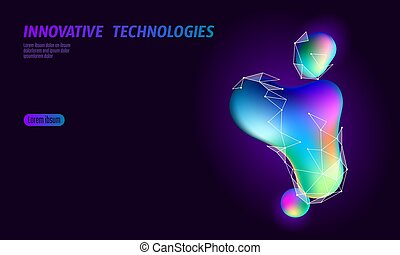 Colorful vibrant globe shape banner. Virtual reality space iridescent fluid gradient neon shapes. Liquid splash bubble. Augmented media online concept. Stereoscopic 3D technology vector illustration