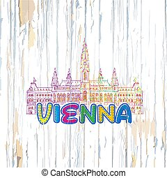Colorful Vienna drawing on wooden background