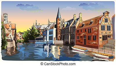 Colorful View on Rozenhoedkaai water canal in Bruges, Belgium, Europe.