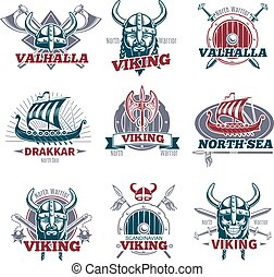 Colorful Viking Labels Set