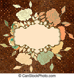 Colorful vintage card with rose. EPS 8