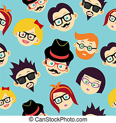 Colorful vintage hipsters faces seamless pattern.