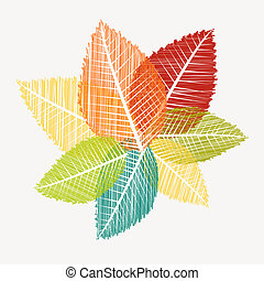 Colorful vintage leaves silhouettes. Autumn season concept background. EPS10 Vector file in layers for easy editing.