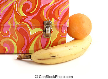 vintage lunchbox - colorful vintage lunchbox and fruit