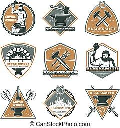 Colorful Vintage Metalworks Labels Set