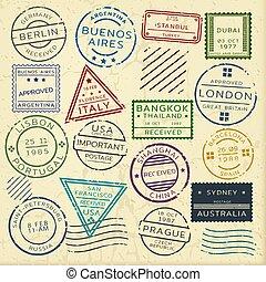 Colorful Vintage Postage Stamps Set