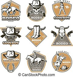 Colorful Vintage Rodeo Labels Set