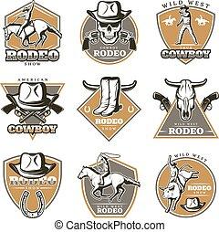Colorful Vintage Rodeo Labels Set