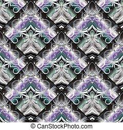 Colorful vintage seamless pattern. Vector floral background. Mod