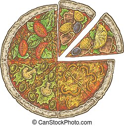 Colorful vintage sketchy style illustration of a pizza.