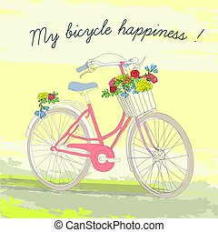 Colorful Vintage Spring Bicycle Poster