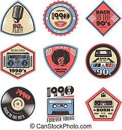 Colorful Vintage Style Emblems Set