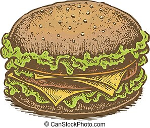 Colorful vintage style hand drawn cheeseburger.