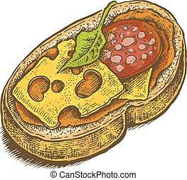 Colorful vintage style hand drawn sandwich
