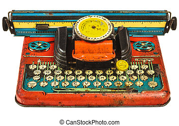 Colorful vintage toy typewriter isolated on white