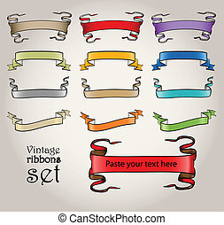 Colorful vintage vector ribbons set