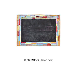 Colorful vintage wood frame with blank black board isolated...